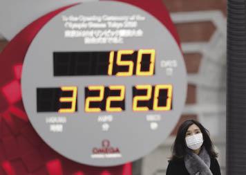 在日本東京,行人戴口罩經過顯示東京奧運會倒計時的電子屏.jpg