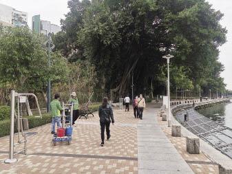 水塘重開,居民到場散步,工人忙於清潔設施。.jpg